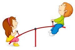 Kids on Seesaw. Vector illustration of kids riding on seesaw Stock Photos