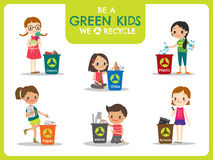 Kids segregating trash recycling concept illustration Stock Photography