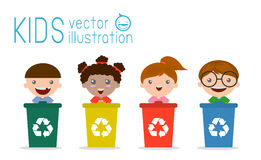 Kids Segregating Trash, recycling trash, Save the World , Vector Illustration. Illustration of Kids Segregating Trash, recycling trash, Save the World , Vector Royalty Free Stock Image