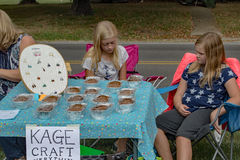 """Kids Selling Jewelries and Bake Goods. Roanoke County, VA – September 17: Kids selling jewelries and bake goods at a local """"Kid Made Market"""" on September Stock Photo"""