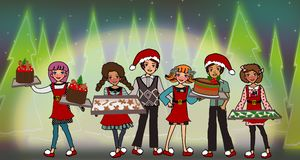 Free Kids Serving Christmas Cake And Cookies Royalty Free Stock Photos - 167700978