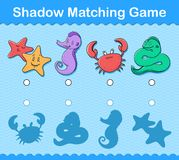 Kids shadow matching puzzle game with sea life. Match the shadow educational kids puzzle with colorful sea life including a crab, sea horse, sea star or starfish Stock Images