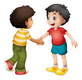 Kids shaking hands. Illustration of two kids shaking hands on white Royalty Free Stock Photos