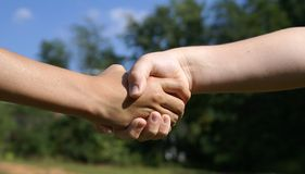 Kids shaking hands. Agreement between kids with nature background Stock Images