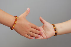 Kids shaking hands body part concept Royalty Free Stock Photo