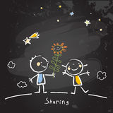 Kids sharing flowers. Friends. Vector concept drawing, chalk on chalkboard sketch, doodle Royalty Free Stock Images