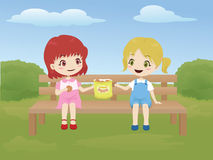 Kids sharing food in the park. Vector illustration of two little girls sharing food while sitting on a bench in the park stock illustration