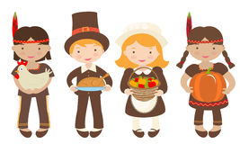 Kids sharing food for Thanksgiving. A group of kids - Indians and Piligrims - sharing food for Thanksgiving vector illustration