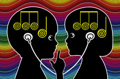 Kids sharing Music Royalty Free Stock Images