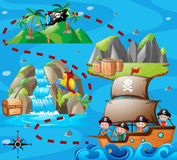 Kids on ship and adventure map vector illustration