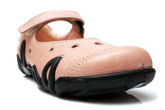 Kids' shoe. Girl's pink leather shoe Stock Photography