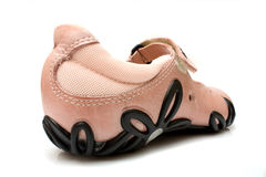 Kids' shoes. Pink leather girl's shoe Royalty Free Stock Photography
