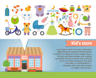 Kids shop. Childrens clothing and toys Stock Image