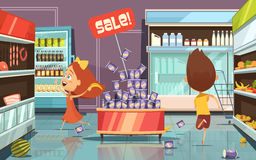 Kids In A Shop Illustration. Running kids in a shop with mess food and drinks cartoon vector illustration Stock Photography