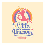 Kids shop logo with pink unicorn. Cute kindergarten sign. Stock Photo