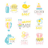 Kids Shop Promo Signs Series Of Colorful Vector Design Templates With Outlined Childish Toy Silhouettes Stock Photo