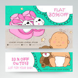 Kids shop sale web header or banner. Royalty Free Stock Photos