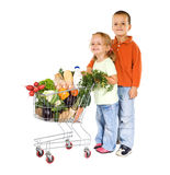 Kids shopping healthy food royalty free stock photography