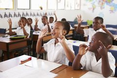 Kids showing hands during a lesson at an elementary school Stock Photography