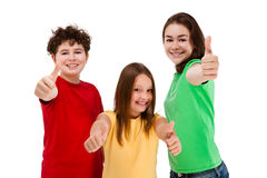 Kids showing OK sign isolated on white background Royalty Free Stock Images