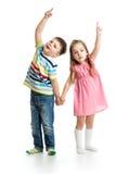 Kids showing something up stock photo