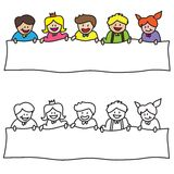 Kids sign. Kids holding blank sign  illustration isolated on white background Stock Photo