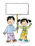 Kids sign. Boy and girl holding blank sign,cartoon kids watercolor style series. grouped and layered for easy editing Royalty Free Stock Photo