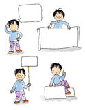 Kids sign. School kids holding blank sign,cartoon boy watercolor style series. grouped and layered for easy editing, see more images related royalty free illustration
