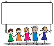 Kids sign. Vector illustration of kids showing sign board Stock Photos