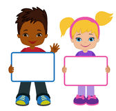 Kids with Signs. Bricht Kids. Frame Board. Clipart. Child meeting frame white board. Stock Photos