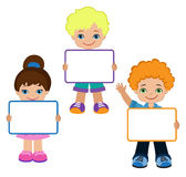 Kids with Signs. Frame Board. Child meeting frame white board. Stock Photo