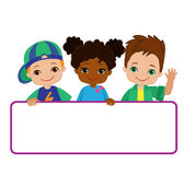 Kids with Signs. Frame Board. Child meeting frame white board. Royalty Free Stock Image