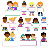 Kids with Signs. Frame Board.Child meeting frame white board. royalty free illustration