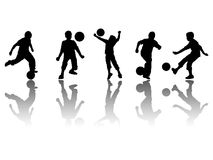 Kids silhouette. S in football actions