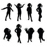 Kids silhouette black  Royalty Free Stock Photo