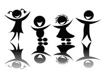 Kids silhouette in black and white stock illustration
