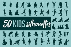 Free Kids Silhouette Collection Vector Royalty Free Stock Images - 144580919