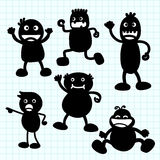 Kids silhouette hand writing cartoon. Stock Photo