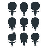 Kids silhouette happy young expression cute teenager cartoon character little kid vector illustration. Kids silhouette portrait fun happy boy young expression Stock Photo