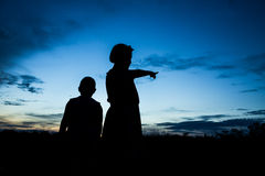 Kids silhouette Stock Photos