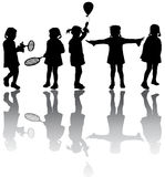 Kids silhouettes. Five Black vector kids silhouettes Royalty Free Stock Image