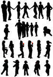 Kids silhouettes. Illustration of kids silhouettes, black Royalty Free Stock Images