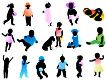 Kids Silhouettes Royalty Free Stock Photo