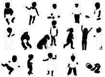 Kids Silhouettes Stock Photos