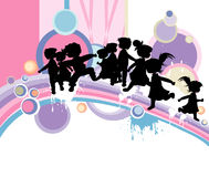 Kids silhouettes. Running and jumping Stock Images