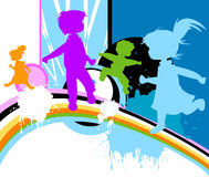 Kids silhouettes. Abstract design with kids silhouettes running and jumping Royalty Free Stock Images