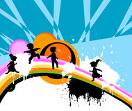 Kids silhouettes. Abstract design with kids silhouettes running and jumping Royalty Free Stock Image