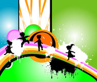 Kids silhouettes. Running and jumping Royalty Free Stock Image