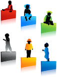 Kids silhouettes. Illustration of kids silhouettes on the stickers Stock Images