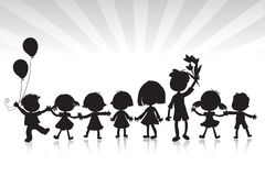 Kids silhouettes Stock Photography